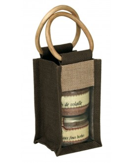 SAC JUTE NATUREL ET MARRON DOUBLE PVC