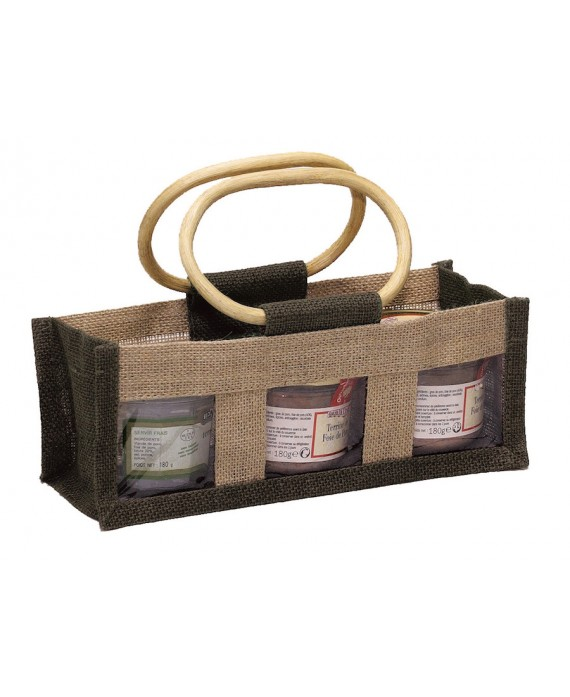 SAC EN JUTE NATUREL ET MARRON DOUBLE PVC