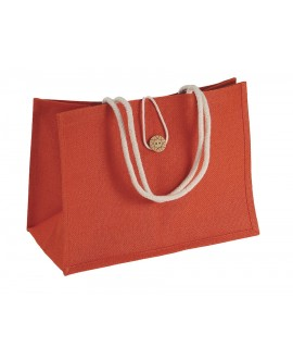 SAC JUTE ORANGE DOUBLE EN COTON ECRU