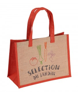 SAC JUTE ORANGE IMPRIMEE LOGO JARDIN