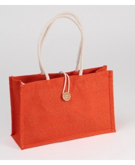 SAC JUTE ORANGE AVEC 2 POIGNEES EN CORDE