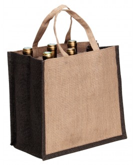 SAC JUTE NATUREL/MARRON 6BTL.