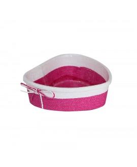 CORBEILLE PAPIER TRESSE ROSE+PVC