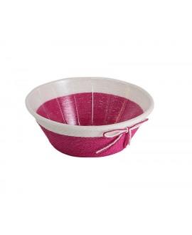 CORBEILLE RONDE EN PAPIER TRESSE ROSE ET PVC