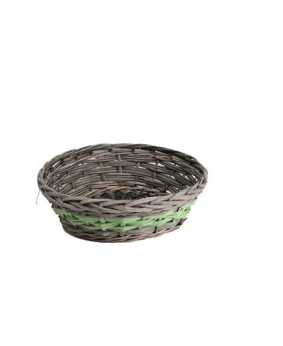 CORBEILLE OSIER RONDE GRIS/VERT