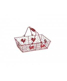 PANIER METAL ROUGE DECOR COQ