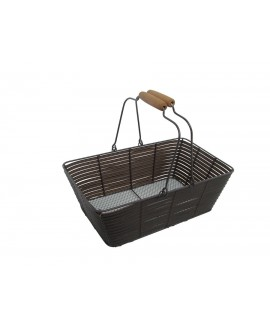 PANIER EN  METAL TRESSEE OSIER SYNTHETIQUE CHOCOLAT