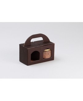 COFFRET CARTON MARRON 2 VERRINES