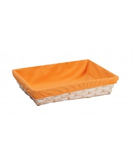 CORBEILLE BAMBOU NATUREL DOUBLEE TISSU ORANGE