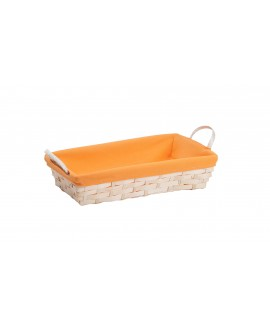 CORBEILLE BAMBOU NATUREL TISSU ORANGE, 2 POIGNEES