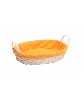 CORBEILLE BAMBOU NATUREL/TISSU ORANGE 2 POIGNEES