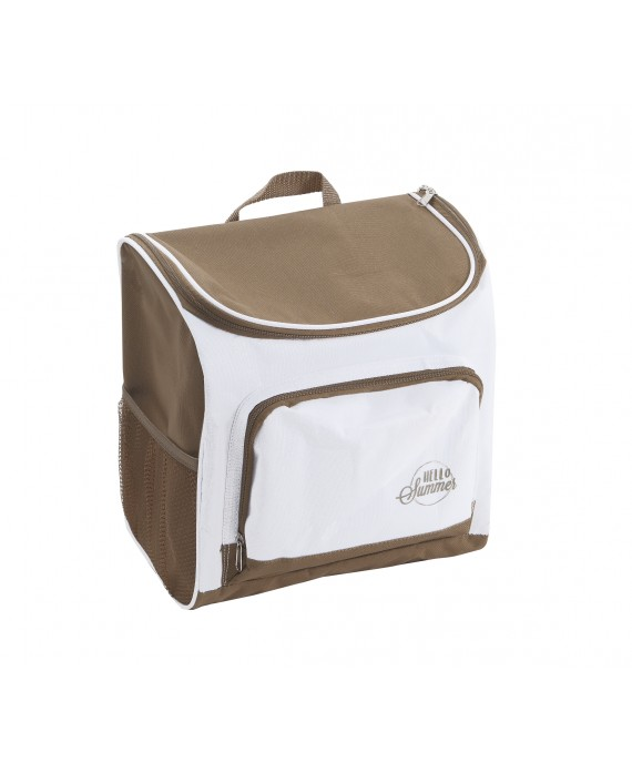 SAC A DOS ISOTHERME NYLON TAUPE ET BLANC