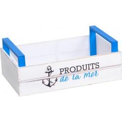 CAGETTE EN BOIS BLANC/BLEU PRODUITS DE LA MER
