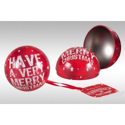 BOULE DE NOEL EN METAL ROUGE DECO MERRY CHRISTMAS