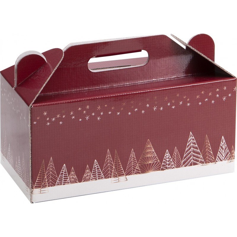COFFRET CARTON BOX NOEL SAPINS ROUGES Mini commande 40p