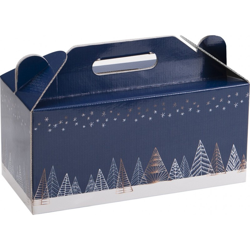 COFFRET CARTON BOX NOEL SAPINS BLEUS Mini commande 40p