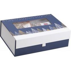 COFFRET CARTON BLEU DECO SAPINS/DORURE, FENETRE PVC 25x10cm